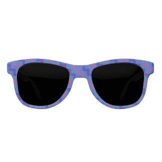 Bright Blue and Aubergine Diagonal Chevron Pattern Sunglasses