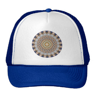 Bright Blue and Brown Mandala Cap