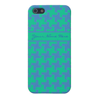 Bright Blue and Emerald Green Dogstooth Pattern iPhone 5/5S Cover