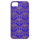 Bright Blue and Gold Fancy Damask Pattern iPhone 5 Cover