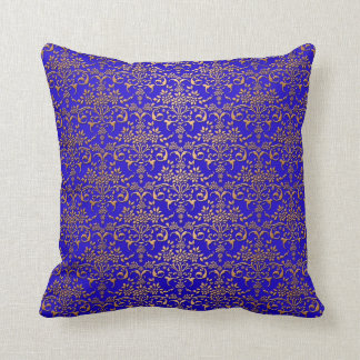 Bright Blue and Gold Fancy Damask Pattern Throw Pillow