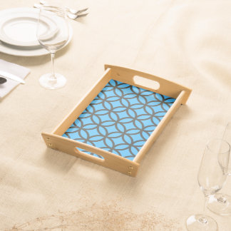 Bright Blue and Grey Circle Pattern Serving Tray