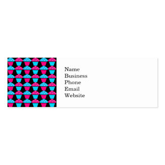 Bright Blue and Hot Pink Cupcake Pattern Business Card Template