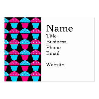 Bright Blue and Hot Pink Cupcake Pattern Business Card