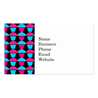 Bright Blue and Hot Pink Cupcake Pattern Pack Of Standard Business Cards