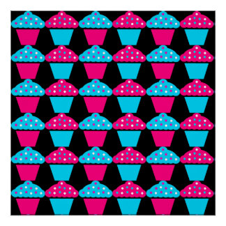 Bright Blue and Hot Pink Cupcake Pattern Poster