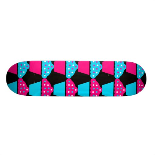 Bright Blue and Hot Pink Cupcake Pattern Skateboard Decks
