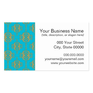 Bright Blue and Peach Damask Pattern Business Card Templates
