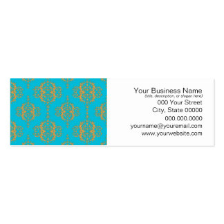 Bright Blue and Peach Damask Pattern Business Card