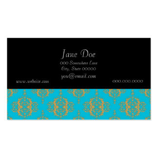 Bright Blue and Peach Damask Pattern Pack Of Standard Business Cards