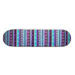 Bright Blue and purple tribal pattern 21.6 Cm Skateboard Deck