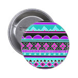 Bright Blue and purple tribal pattern Pinback Buttons