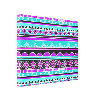 Bright Blue and purple tribal pattern Stretched Canvas Print