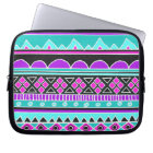 Bright Blue and purple tribal pattern Laptop Sleeve