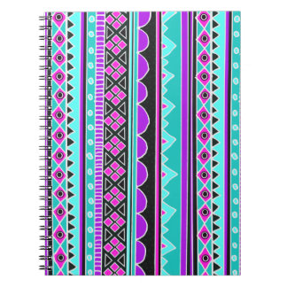 Bright Blue and purple tribal pattern Notebook