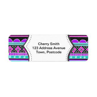 Bright Blue and purple tribal pattern Return Address Label