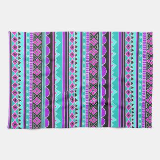 Bright Blue and purple tribal pattern Tea Towel