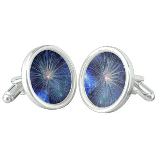 Bright Blue and White Fireworks Cuff Links