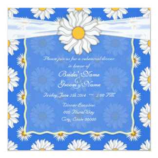 Bright Blue and White Floral Rehearsal Dinner Card