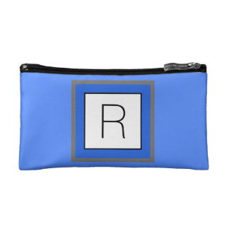 Bright Blue and White Square with Monogram Makeup Bag