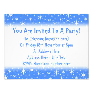 Bright blue and White Stars Pattern Personalized Invites
