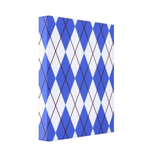 Bright Blue Argyle Canvas Prints