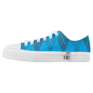 Bright Blue Argyle Printed Shoes