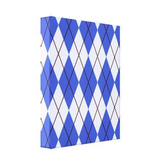 Bright Blue Argyle Stretched Canvas Prints