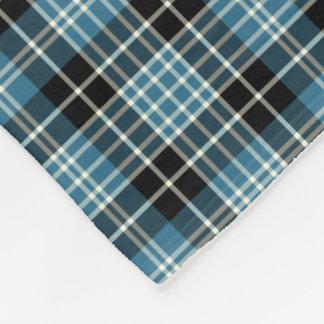 Bright Blue, Black and White Clan Clark Tartan Fleece Blanket