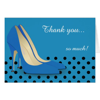 Bright Blue, Black Polka Dots and Red Pumps Card