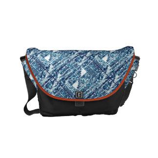 Bright Blue Bold Boshi Shibori Block Modern Messenger Bag