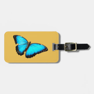 Bright blue butterfly bag tag