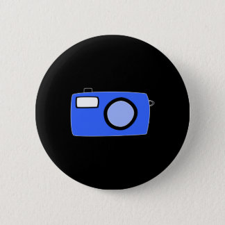 Bright Blue Camera. On Black. 6 Cm Round Badge