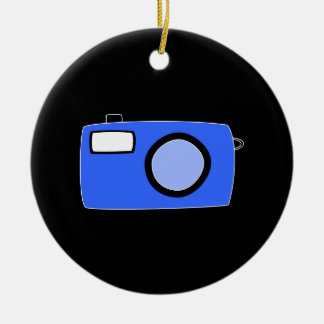 Bright Blue Camera. On Black. Christmas Ornament
