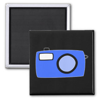 Bright Blue Camera. On Black. Magnet