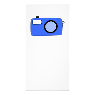 Bright Blue Camera On White Customized Photo Card