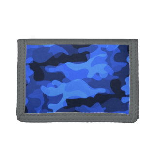 Bright Blue Camoflauge Trifold Wallet