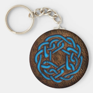 Bright blue celtic knot on leather key ring