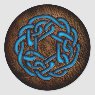 Bright blue celtic ornament on leather classic round sticker