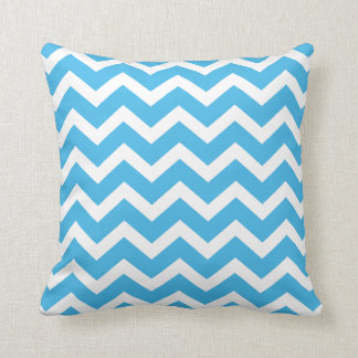 Bright Blue Chevron Stripe Pillow