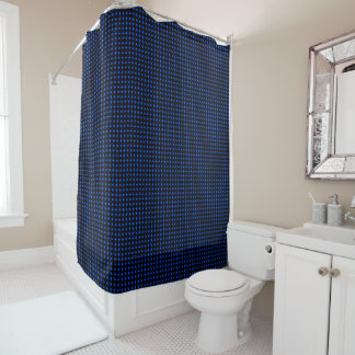 Bright Blue Circle Dotted Pattern Shower Curtain