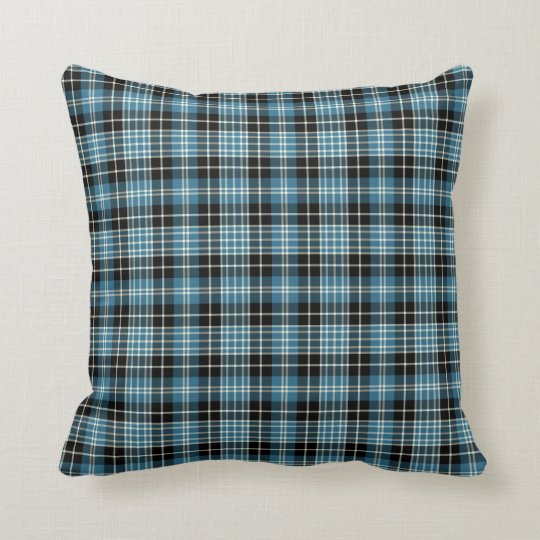 Bright Blue Clark Clan Scottish Plaid Cushion