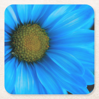 Bright Blue Daisy Square Paper Coaster