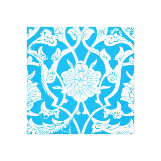 BRIGHT BLUE ETHNIC PATTERN STRETCHED CANVAS PRINT