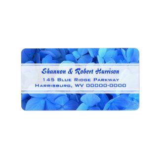 Bright Blue Floral Hydrangea Return Address Address Label