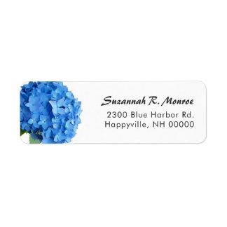 Bright Blue Floral Hydrangea White Return Address