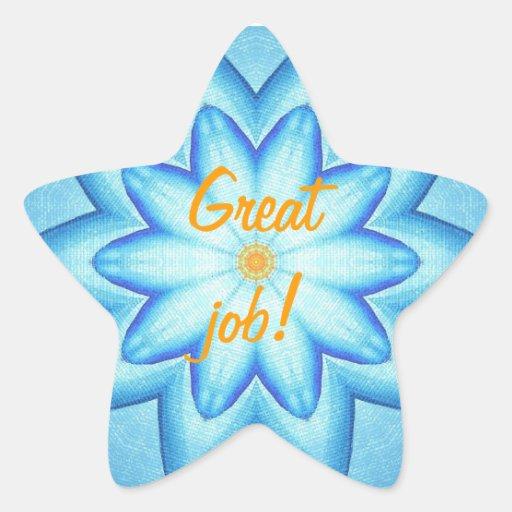 Bright Blue Flower Petals Orange Great Job Sticker
