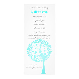 Bright Blue Flowering Tree Baby Shower Invitation