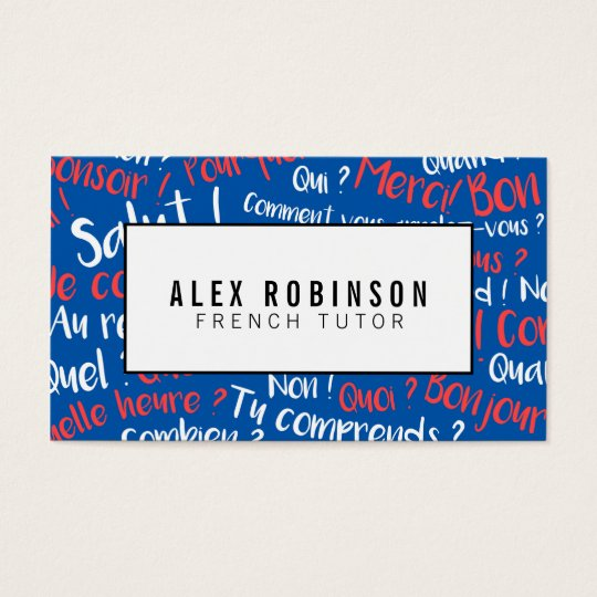 Bright blue french language tutor business card