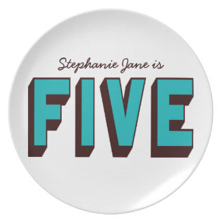 Bright Blue Funky Five Birthday Plate
